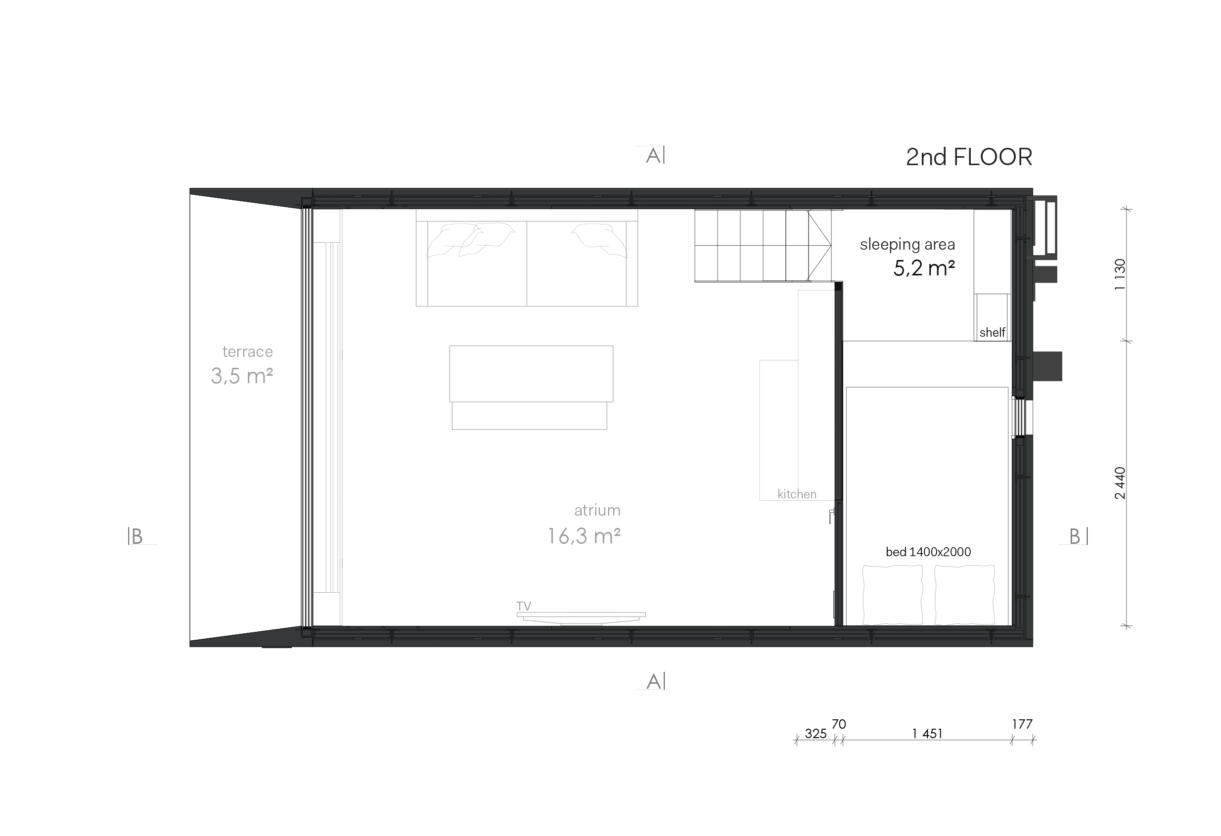 Amazing koda for living with plan maison cube for Maison kodasema prix